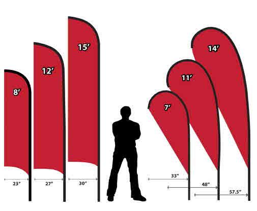 Wind flags and feather flags for Teardrop flag template